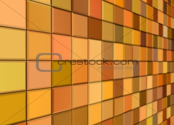 3d render mixed orange yellow tiled wall floor pavement