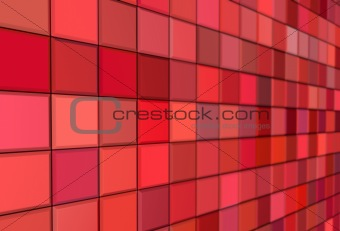 3d render tiled mosaic red pink wall pavement
