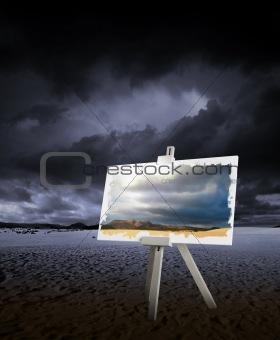 Painting on desert