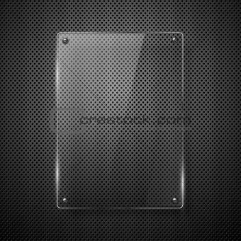 Metallic background with glass framework.