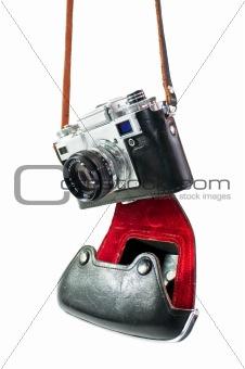 camera in red-black case