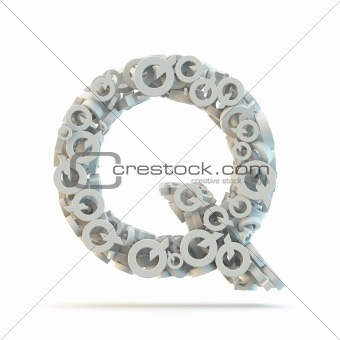 White uppercase letter Q isolated on white.