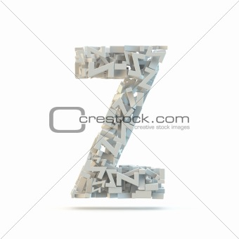 White uppercase letter Z isolated on white.
