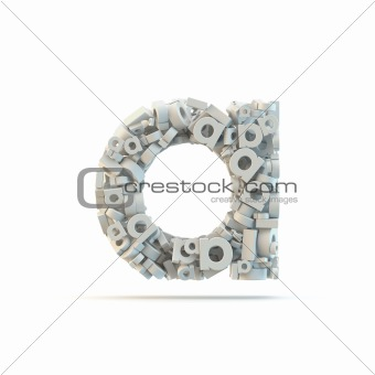 White lowercase letter a isolated on white.