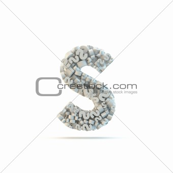 White lowercase letter s isolated on white.