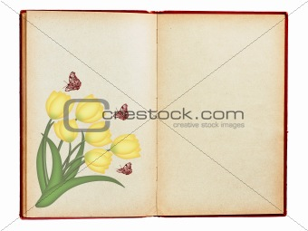 Old book with tulips and butterflies