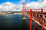Red Suspension metallic Bridge in Lisbon