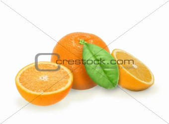 Heap of fresh orange with green leaf