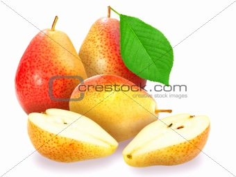 Fresh orange pears with green leaf