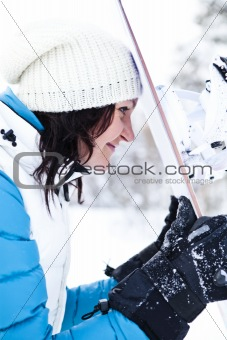 Winter woman with snowboard