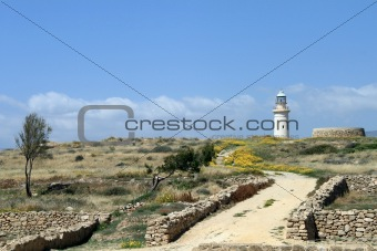 Lighthouse and yellow flowers