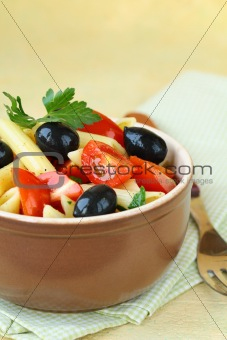 Italian salad with pasta and tomatoes