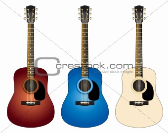 Three colorful guitar