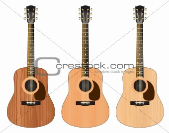 Three guitars with a wood texture