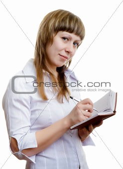young girl with a notebook