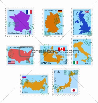 The set of the stamps with different countries