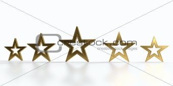 Five golden stars isolated on white background.