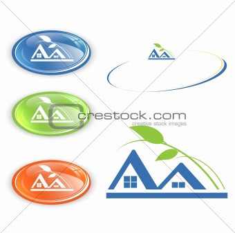 cottage or camping emblem set