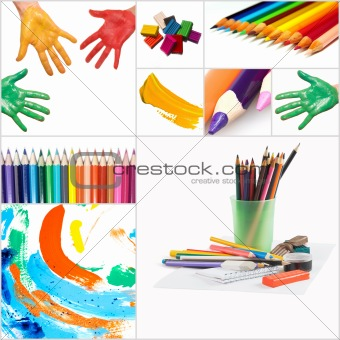 funny painted hand and pencils