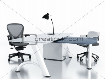 Empty office room with table and armchairs