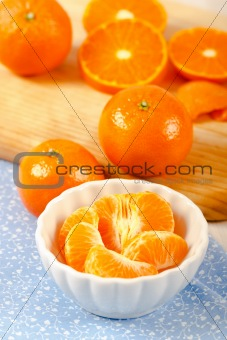 Mandarin Orange Sections in White Bowl