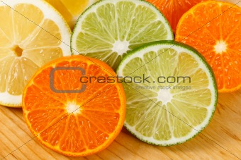 Sliced Citrus Fruit, Limes, Lemons and Oranges