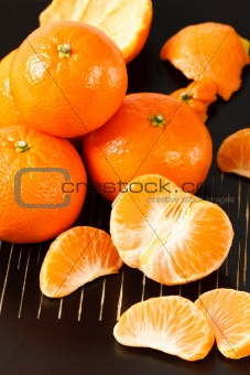 Healthy Mandarin Oranges on Black Background