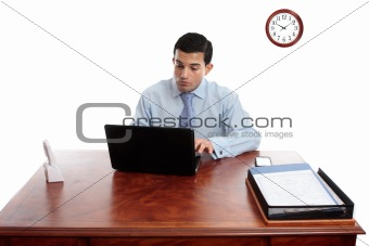 Businessman iworking at office desk