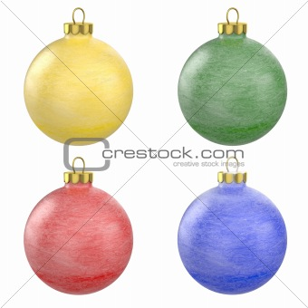 Four christmas balls with frost texture