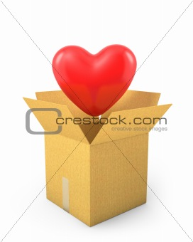 Read heart fly out of carton box