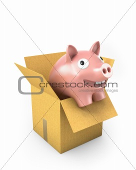 Piggy bank in a carton box