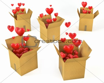A lot of carton boxes with red hearts flying out of them