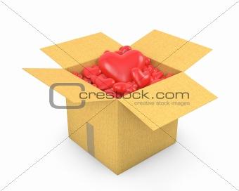 Carton box full of hearts
