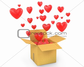 Carton box with a lot of flying out hearts