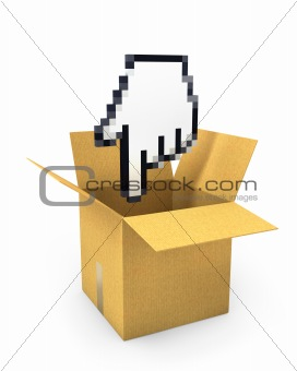 Pixel hand cursor flies to carton box