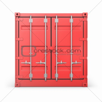 Single red container, front view