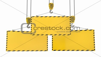 Three crane hooks with blank yellow plates