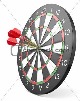 Three red darts hit center of board