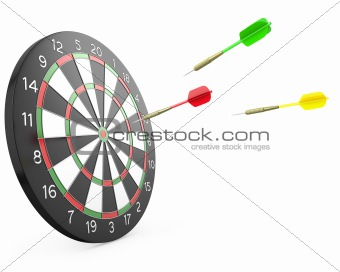 Three darts arrows flying into board
