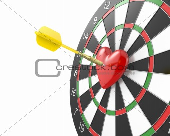 Dart hit the heart in the center of datrboad, version without bl