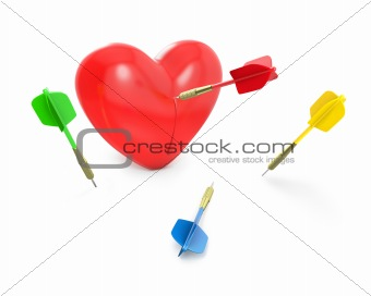 One dart hit the red heart