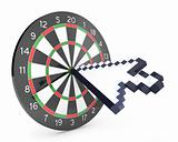 Arrow cursor hits the dartboard