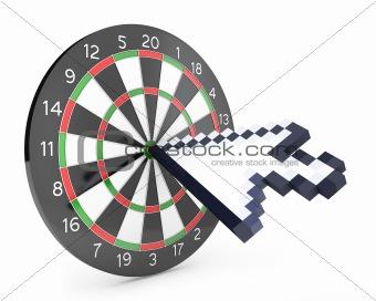 Arrow cursor hits the dartboard