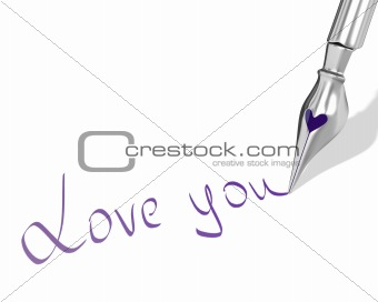 "Ink pen nib with heart writes ""Love you"""