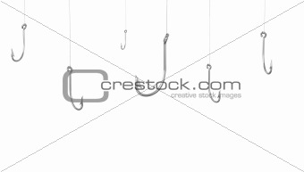 A lot of fishing hooks, isolated on white background