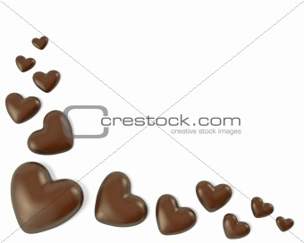 Corner, made from heart shaped chocolate candies