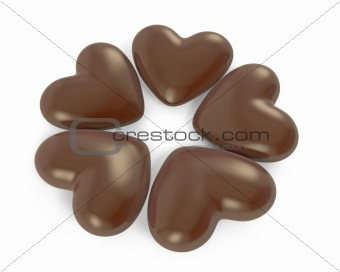 Five heart shaped chocolate candies