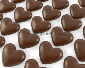 Many heart shaped chocolate candies