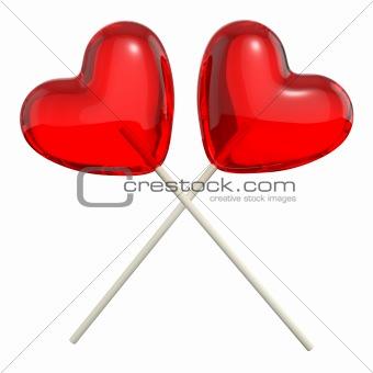 Two crossed heart shaped lollipops