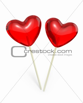 Two heart shaped lollipops